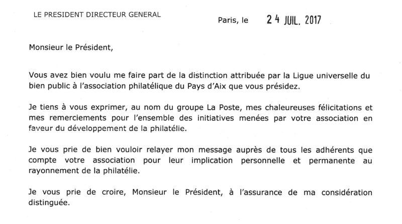 Félicitations du Président de la Poste pour la médaille de la Ligue Universelle du Bien Public